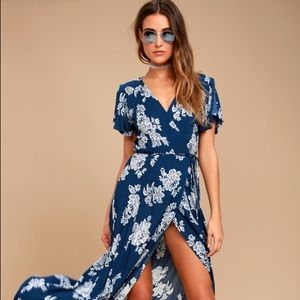 HEART OF MARIGOLD NAVY BLUE FLORAL PRINT WRAP MAXI